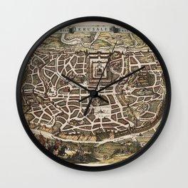 Map Of Jerusalem 1643 Wall Clock