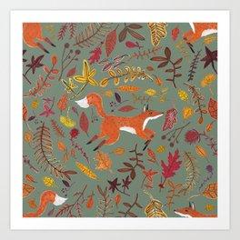 The autumn Fox / pastel green Art Print