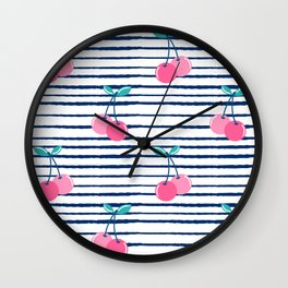 cute summer cherries pattern on blue and white striped background Wall Clock