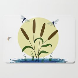 Cattails and Dragonflies Cutting Board