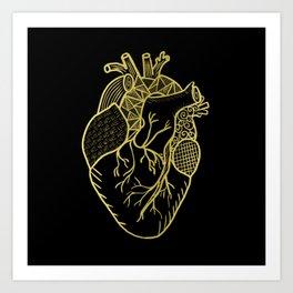 Designer Heart Gold Art Print