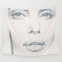 angelina jolie Wall Tapestries featuring Angelina  by S'ANNie