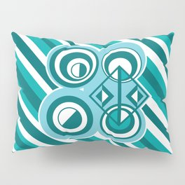 Striped Blue White and Teal Falling Eccentric Circles Abstract Art Pillow Sham