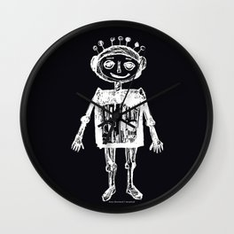Little robot black-white illustration Wall Clock