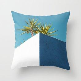 Cactus blue white Throw Pillow