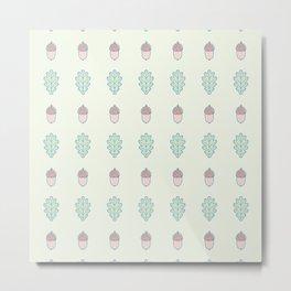 Outlined Acorn and Oak Leaves Pattern Metal Print