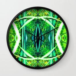 Lace, Leave, Grass, Light Green Azure Wall Clock
