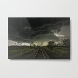 Give Me Shelter - Storm Over Railroad Tracks in Kansas Metal Print