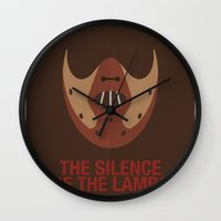 silence of the lambs Wall Clocks featuring THE SILENCE OF THE LAMBS by Alejandro de Antonio Fernández