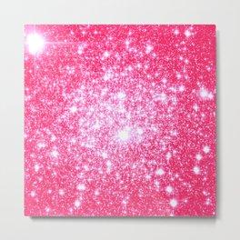 Hot Pink Galaxy Stars Sparkle Metal Print