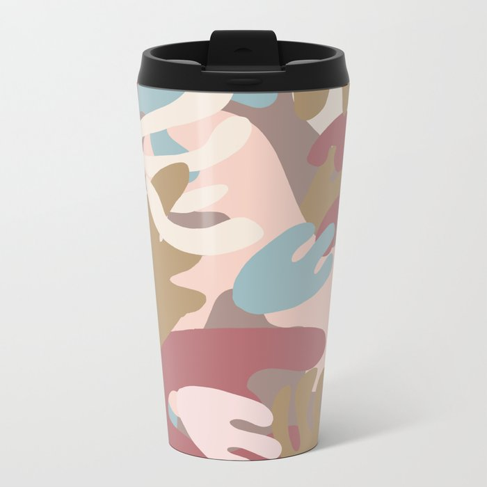 Abstract Leaf Motif Metal Travel Mug
