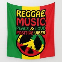 Peace Symbol, Reggae Sayings, Reggae colors Wall Tapestry