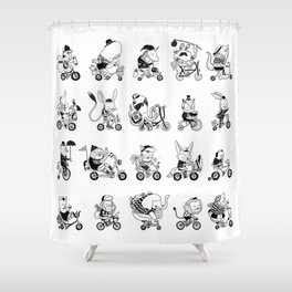 Animals Bicylcle Club Shower Curtain