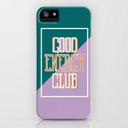 Good Energy Club- turquoise, orange, and lavender iPhone Case