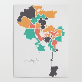 Los Angeles Map with boroughs and modern round shapes Poster
