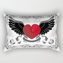 Heart with wings and background Rectangular Pillow