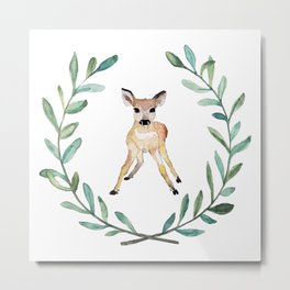 Deer Wreath Metal Print