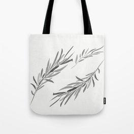 Eucalyptus leaves black and white Tote Bag