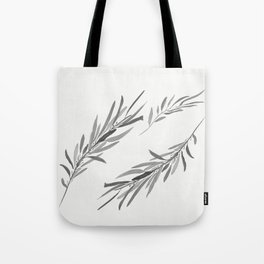 Eucalyptus leaves black and white Tote Bag
