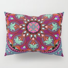 Boho Floral Crest Red and Purple Pillow Sham
