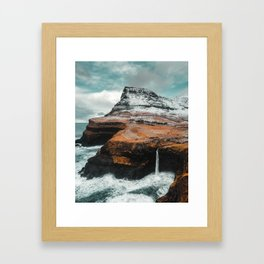 Múlafossur Waterfall, Faroe Islands Framed Art Print