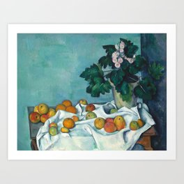 Still Life with Apples and Primroses by Paul Cezanne Art Print