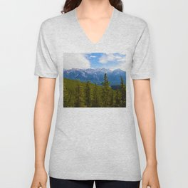 Collin Range as seen from the Palisades in Jasper National Park, Canada Unisex V-Neck
