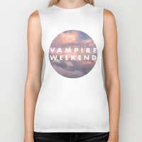 vampire weekend Biker Tanks featuring Vampire Weekend clouds logo by Van de nacht