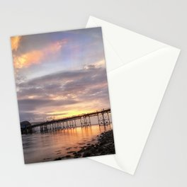Dawn sky at Mumbles pier Stationery Cards