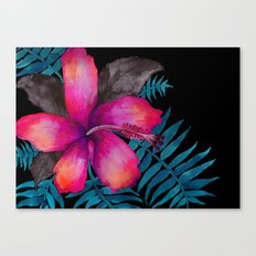 Pink Hibiscus Flower - BLACK Canvas Print