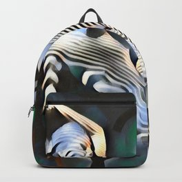 0169-PJ+NIS Sisters Abstracted Nude Zebra Girls in Green and Blue Backpack