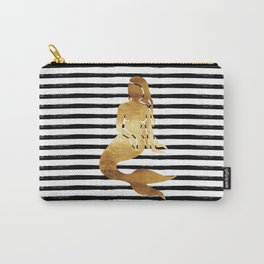 Mermaid & Stripes - Black Carry-All Pouch