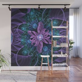 Bejeweled Butterfly Lily of Ultra-Violet Turquoise Wall Mural