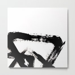 Brushstroke [8] - a simple, abstract, black and white india ink piece Metal Print