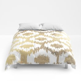 Modern white hand drawn ikat pattern faux gold  Comforters