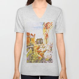 L'Aquila: rubble and architecture damaged by the earthquake Unisex V-Neck