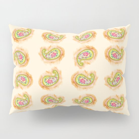 Paisley Watercolor in Tea (tan brown) Pillow Sham