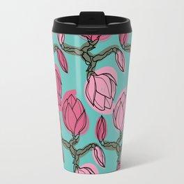 magnolia branch abstract botanical pattern. Travel Mug