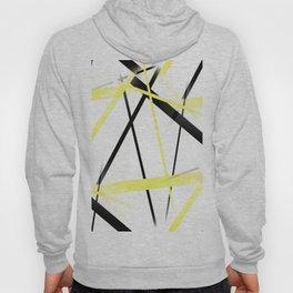 Criss Crossed Lemon Yellow and Black Stripes on White Hoody