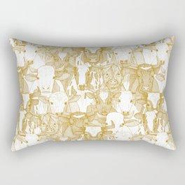 just ox gold white Rectangular Pillow