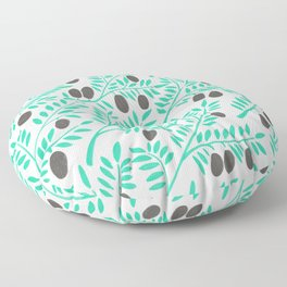 Olive Branches – Turquoise & Black Palette Floor Pillow