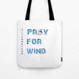 Kiteboarding Humor Kneeling Skeleton Praying For Wind Tote Bag