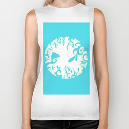 Abstractly Blue  Biker Tank