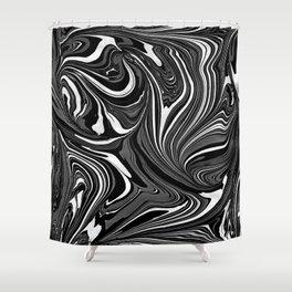 Black White Grey Marble Shower Curtain
