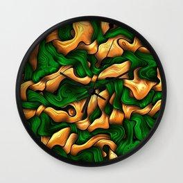 Tangled Silk, green Wall Clock