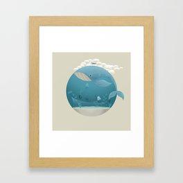 Seagull rest over whale Framed Art Print