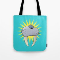 walrus Tote Bags featuring Walrus by quietsight