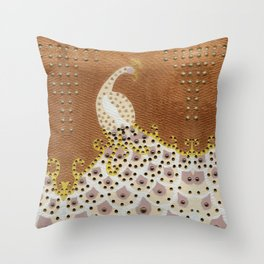 Peacock in Bronze Throw Pillow