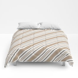 Pantone Hazelnut Nutmeg and White Thick and Thin Angled Lines - Stripes Comforters