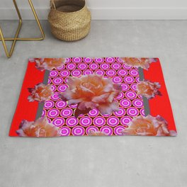 RED ABSTRACT ANTIQUE ROSES FUCHSIA FLORAL Rug